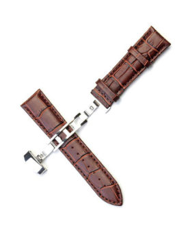 BROWN LEATHER WATCH STRAP DEPLOYMENT