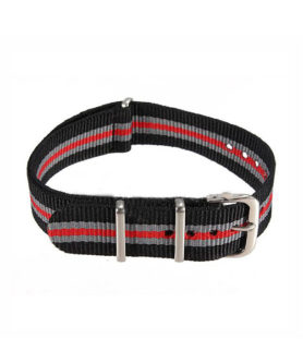 NATO NYLON BLACK GRAY RED