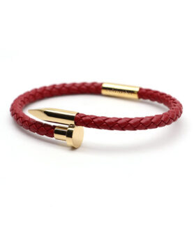 DUVERNET BRACELET SCREW LOVE RED BORDEAUX GOLD