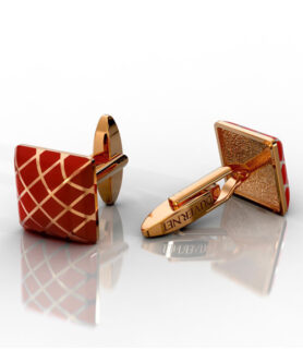 DUVERNET ROSE GOLD AND RED CUFFLINK